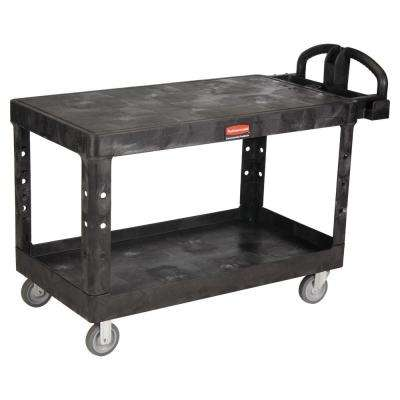 Heavy Duty Black 2-Shelf Utility Cart with Flat Shelf in Large