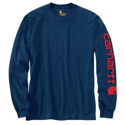 Men's Regular Large Dark Cobalt Blue/Red Cotton/Polyester Long-Sleeve T-Shirt