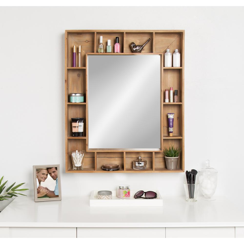 rustic wall mirrors diy kate and laurel kieren rustic wood cubby framed wall storage mirror other natural
