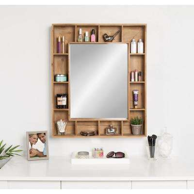 Kieren Rustic Wood Cubby Framed Wall Storage Mirror Other Natural