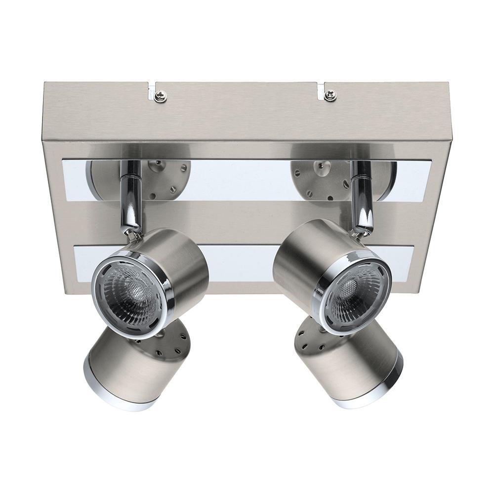 EGLO Pierino 100-Watt Satin Nickel and Chrome Integrated LED Ceiling Flush Mount