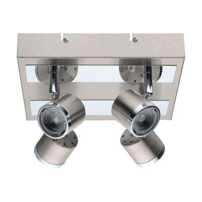Pierino 100-Watt Satin Nickel and Chrome Integrated LED Ceiling Flushmount