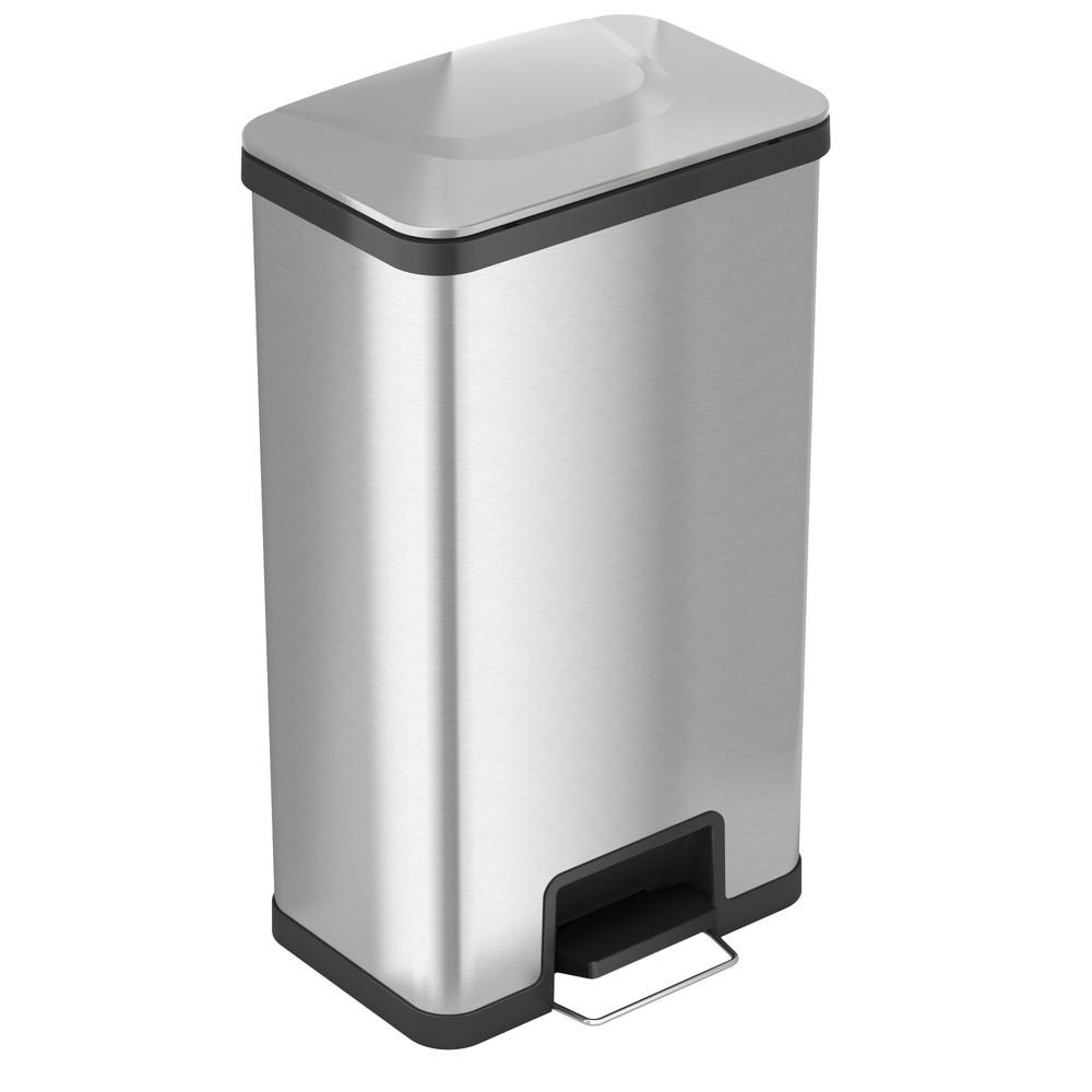 Itouchless Airstep 18 Gal Step On Kitchen Stainless Steel Trash Can