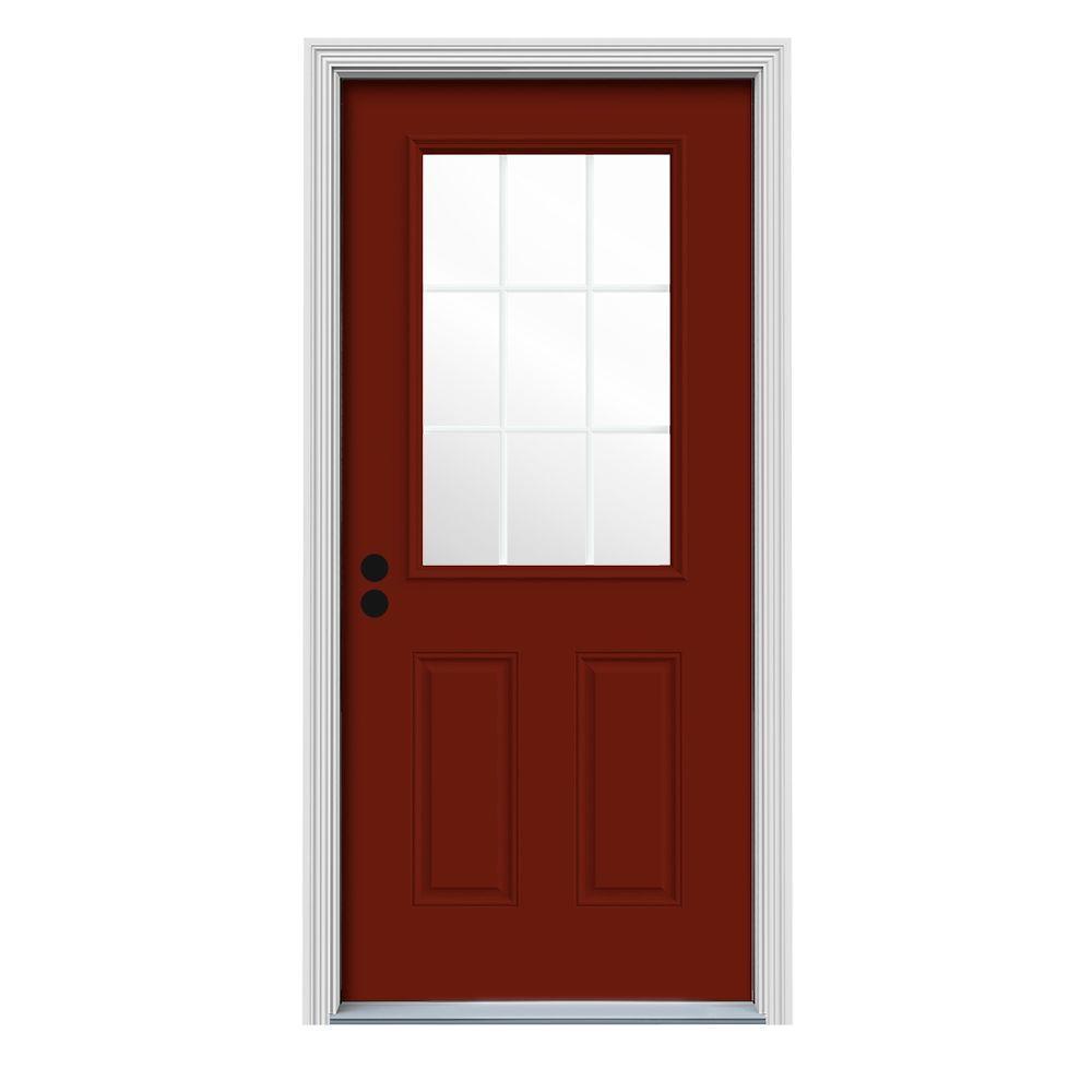 JELD-WEN 32 in. x 80 in. 9 Lite Mesa Red w/ White Interior Steel Prehung Right-Hand Inswing Front Door w/Brickmould