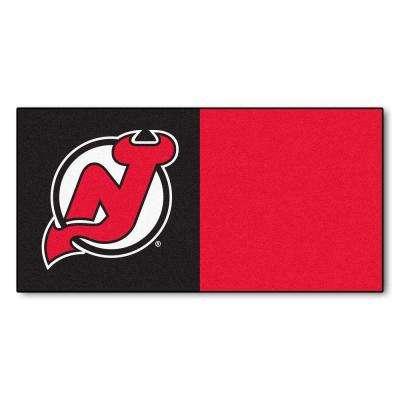 NHL - New Jersey Devils Black and Red Pattern 18 in. x 18 in. Carpet Tile (20 Tiles/Case)
