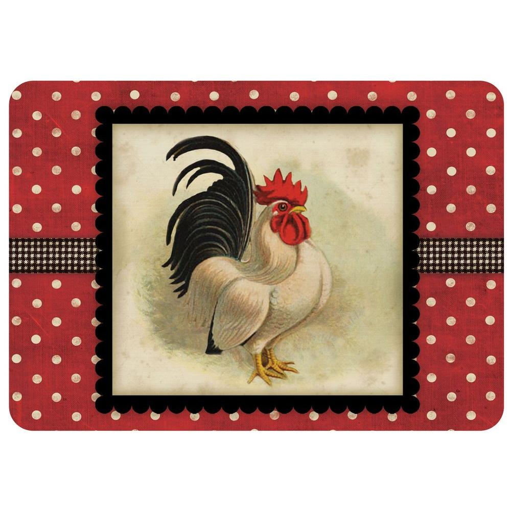 Polk-A-Dot Cream and Black Rooster 22 in. x 31 in. Polyester