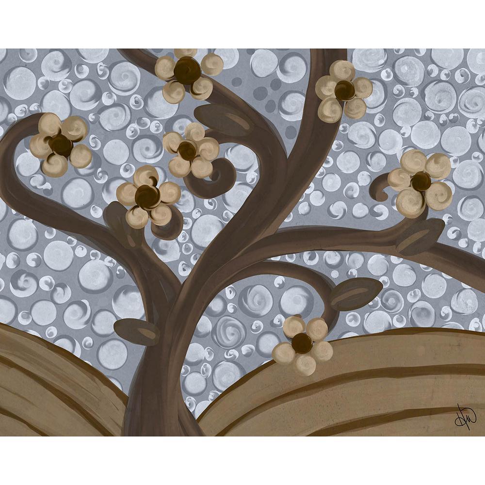 """11 in. x 14 in. """"Twisty Tree Blue Sky"""" Planked Wood Wall Art Print"""