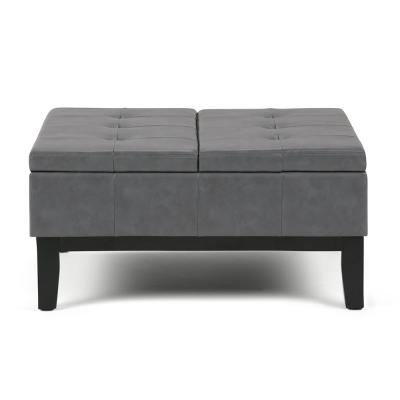 Faux Leather Gray Ottomans Living Room Furniture The
