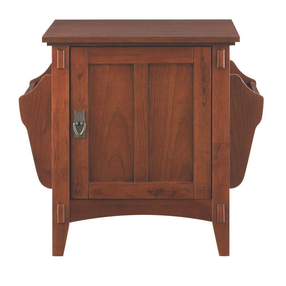 Medium Oak Storage End Table
