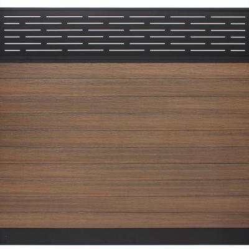 Euro Style 6 ft. H x 6 ft. W Lattice Top King Cedar Aluminum/Composite Horizontal Fence Section