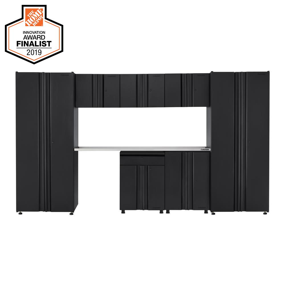 Husky Welded 133 in. W x 75 in. H x 19 in. D Steel Garage Cabinet Set in Black (8-Piece with Stainless Steel Work Surface)
