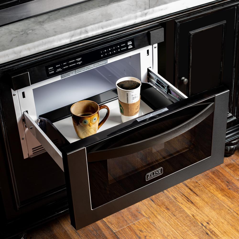 ZLINE 24 in. 1.2 cu. Ft. Microwave Drawer in Black Stainless Steel