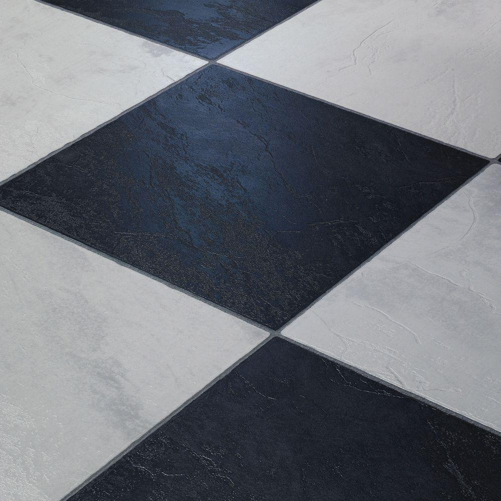 Innovations black and white chess slate 8 mm thick x 11 3 for Square laminate floor tiles