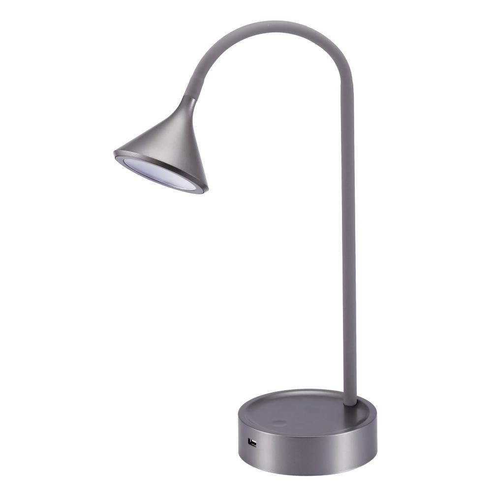 16 in. Gray Gooseneck LED Desk Lamp with 3 Brightness Levels