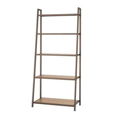 27 in. W x 14 in. D 5-Tier Bronze Anthracite Leaning Bamboo Decorative Shelf