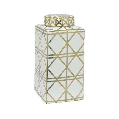 6 in. x 6 in. White and Gold Porcelain Jar