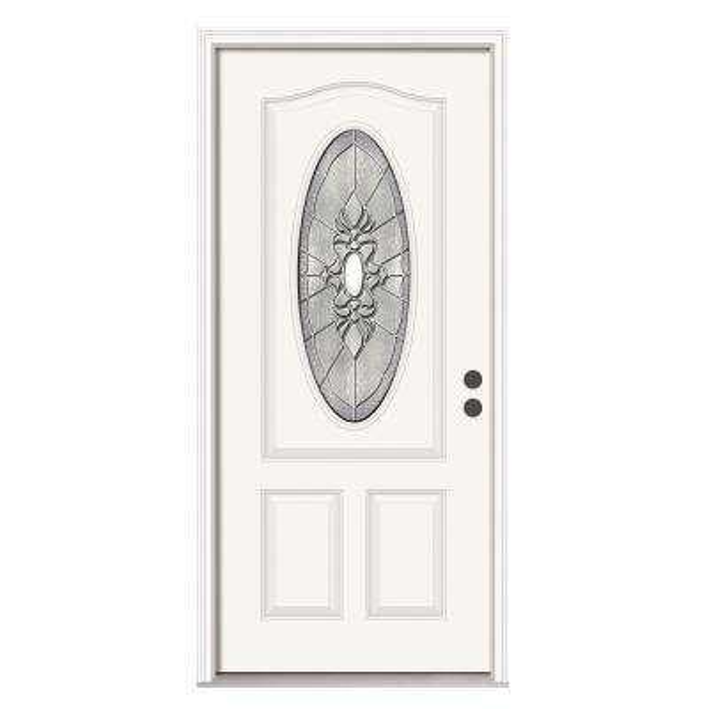 36 in. x 80 in. 3/4 Oval Lite Langford Primed Steel Prehung Left-Hand Inswing Front Door w/Brickmould