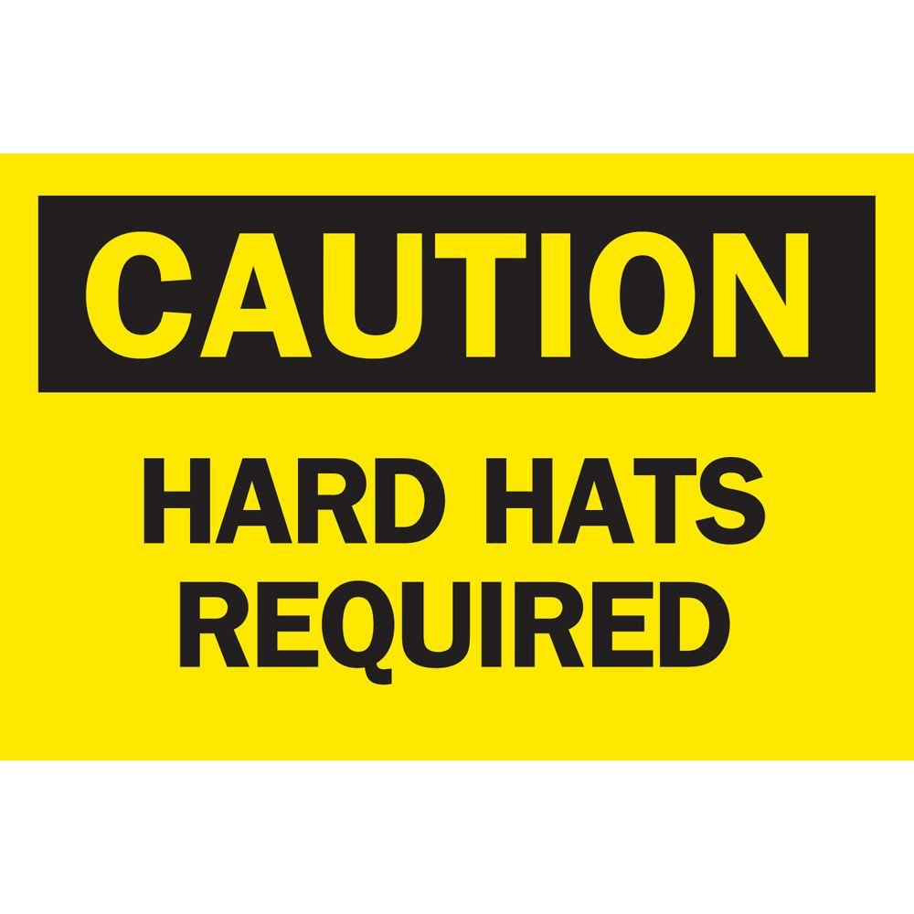 10 in. x 14 in. Plastic Caution Hard Hats Required OSHA