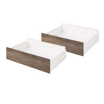 Select Drifted Gray Queen/King Storage Drawers on Wheels (Set of 2)