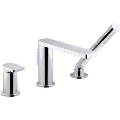Composed Single-Handle Deck-Mount Roman Tub Faucet with Handshower in Polished Chrome