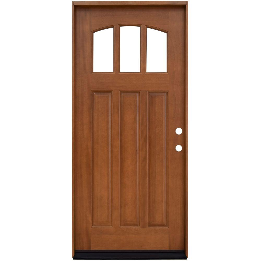 Steves sons 36 in x 80 in craftsman 3 lite arch stained craftsman 3 lite arch stained mahogany wood prehung front door m4151 aw mj 6rh the home depot rubansaba