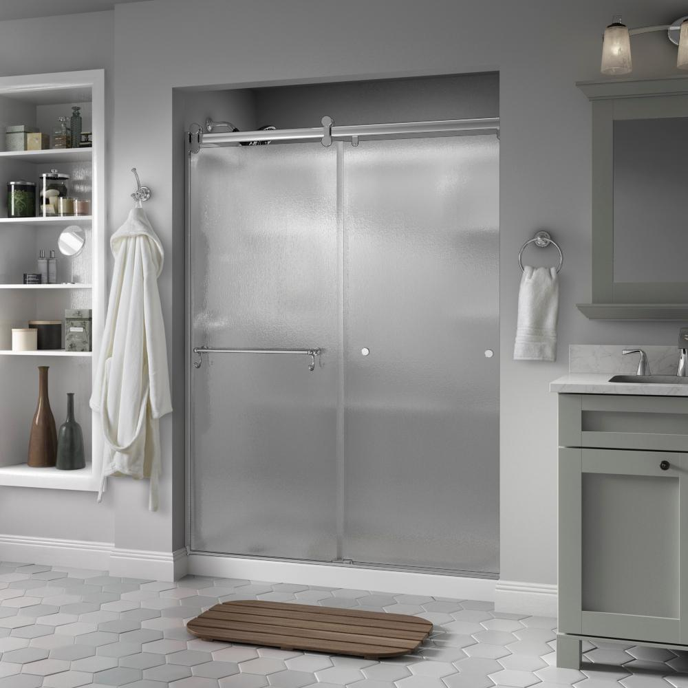Delta Portman 60 X 71 In Frameless Contemporary Sliding Shower Door In Chrome With Rain Glass