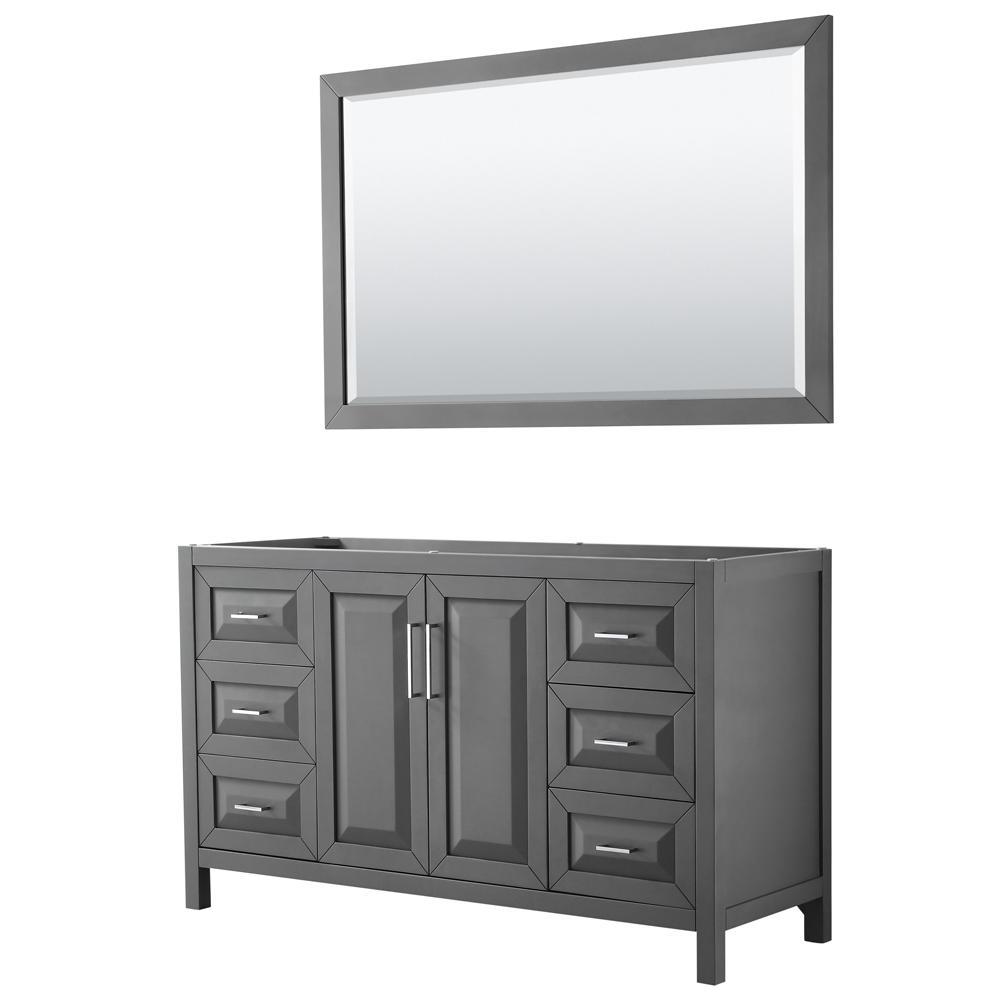 Daria 59 in. Single Bathroom Vanity Cabinet Only with 58 in. Mirror in Dark Gray