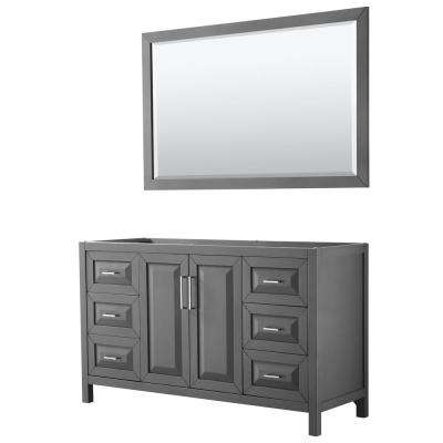 Daria 59 in. Single Bathroom Vanity Cabinet Only with 58 in. Mirror in Dark Gray