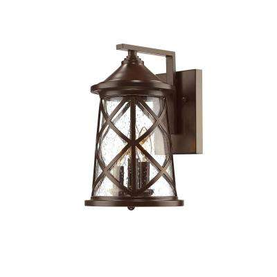 3-Light 13 in. High Powder Coated Bronze Outdoor Wall Lantern Sconce with Glass Shade