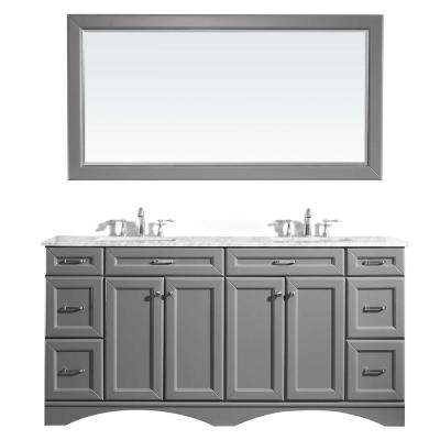 Naples 72 in. W x 22 in. D x 36 in. H Vanity in Grey with Marble Vanity Top in White with White Basin and Mirror