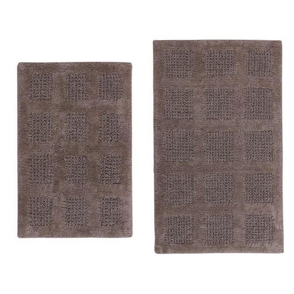 17 in. x 24 in. and 20 in. x 30 in. Stone Square Honey Comb Reversible Bath Rug Set (2 Piece), Grey