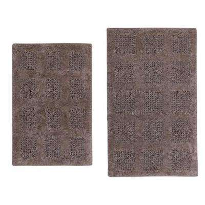 17 in. x 24 in. and 24 in. x 40 in. Stone Square Honey Comb Reversible Bath Rug Set (2-Piece)
