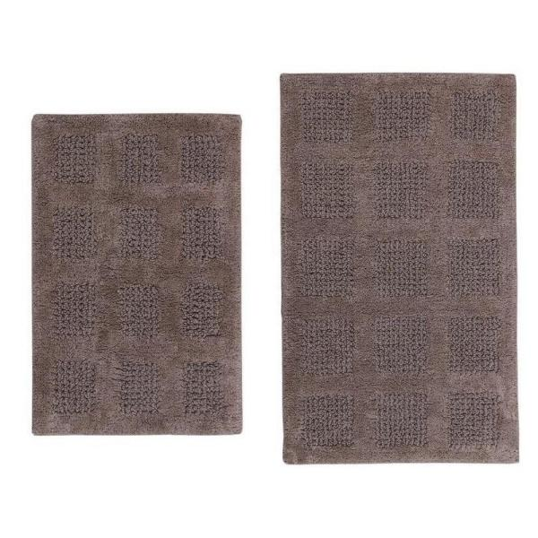 PERTHSHIRE 17 in. x 24 in. and 24 in. x 40 in. Stone Square Honey Comb Reversible Bath Rug Set (2-Piece)