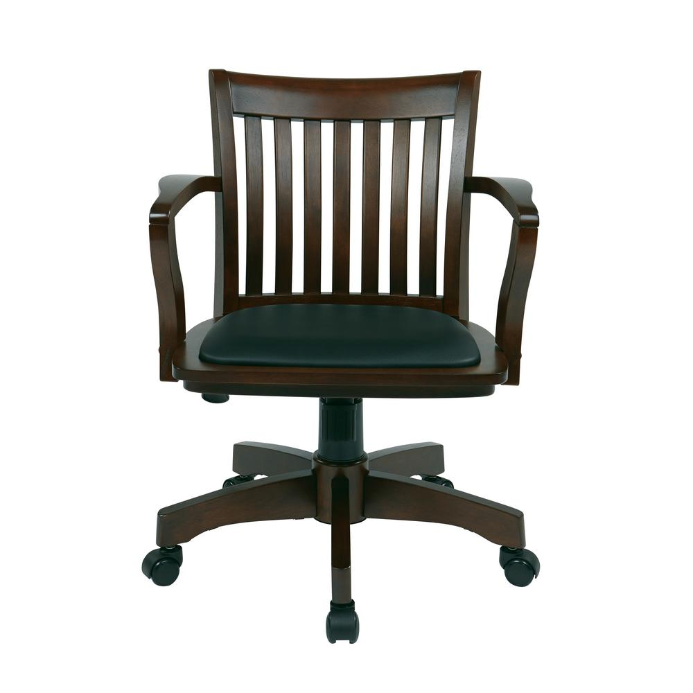 Ospdesigns Espresso Wood Brown Bankers Chair With Padded