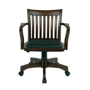 Espresso Wood/Brown Bankers Chair With Padded Seat