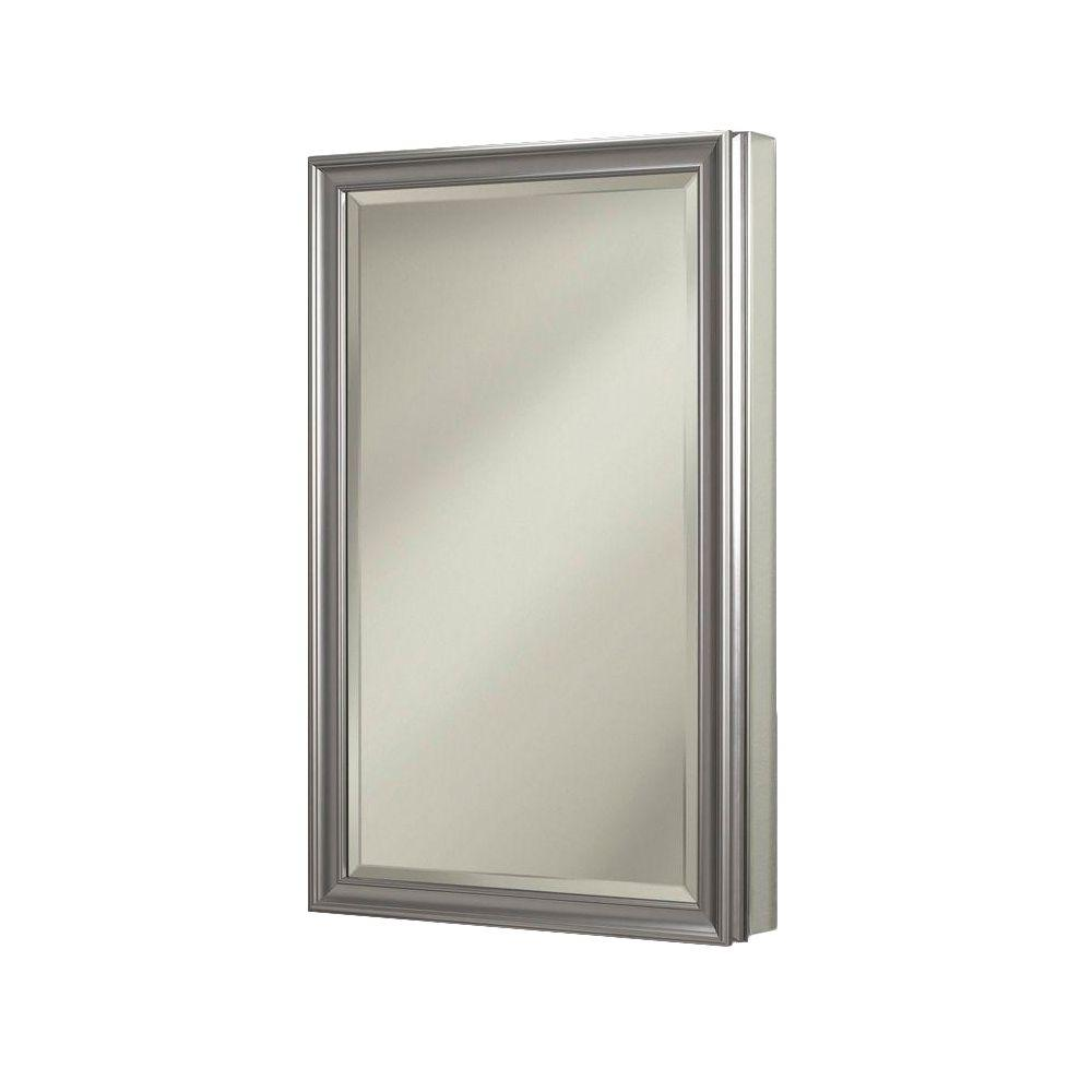 JENSEN Studio V 15 in. x 35 in. x 5 in. Stainless Recessed or Surface-Mount Bathroom Medicine Cabinet in Satin Nickel