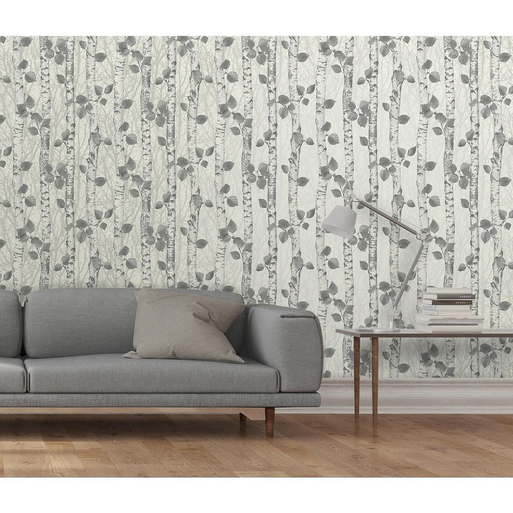 56.4 sq. ft. Birchwood Neutral Glitter Wallpaper