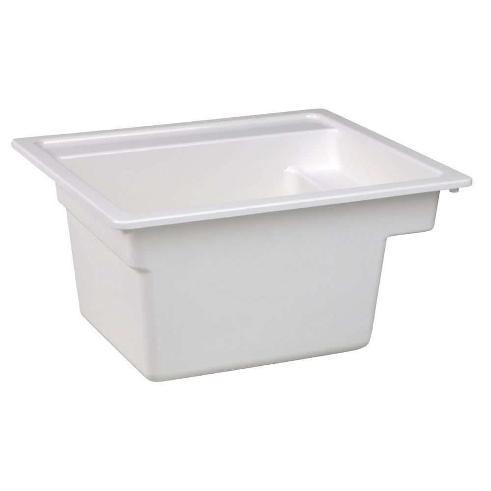 MUSTEE Vector 22 in. x 25 in. Fiberglass Self-Rimming MultiTask Sink in White