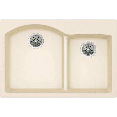 Quartz Luxe Drop-In/Undermount Composite 33 in. Rounded Offset Double Bowl Kitchen Sink in Parchment