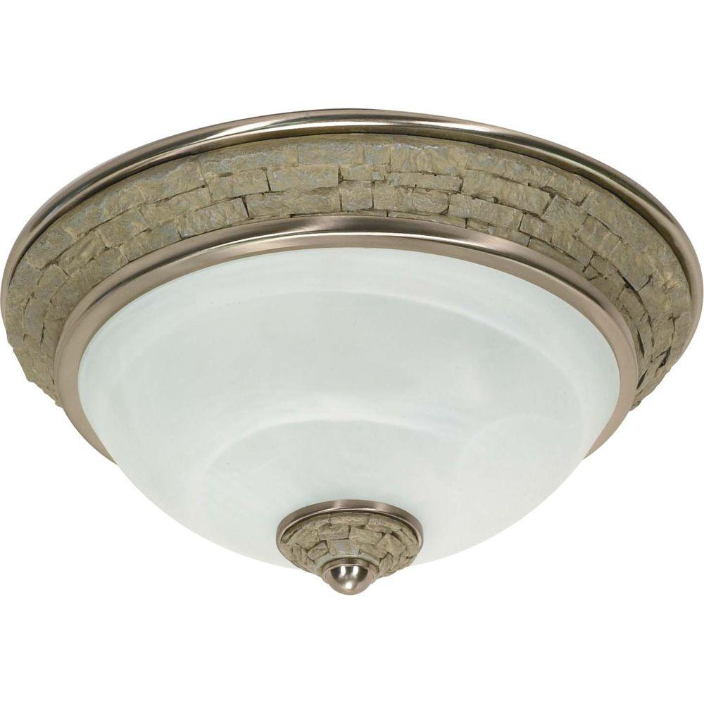 Glomar Rockport Milano 2 Light Flush Mount with Alabaster Swirl Glass Shades Finished in Brushed Nickel-DISCONTINUED