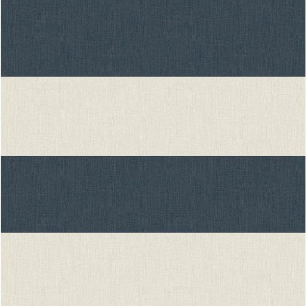 Chesapeake Awning Navy Stripe Wallpaper Sample 3113-194535SAM