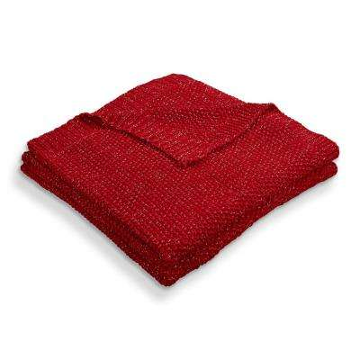 Sweater Weather Knitted Red/Silver 50 in. x 60 in. Throw Blanket