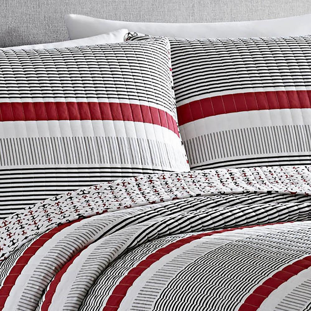 Anchors Away Striped Cotton Quilt Set