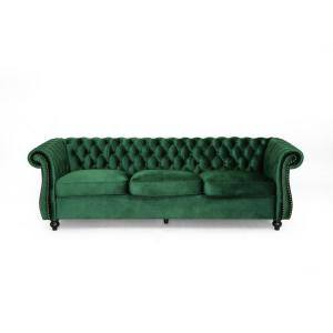 Sommerville 34.5 in. Emerald/Dark Brown Velvet 3-Seater Chesterfield Sofa with Flared Arms