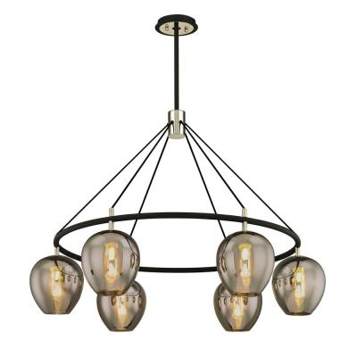 Iliad 6-Light Carbide Black 40 in. W Pendant with Plated Smoke Glass