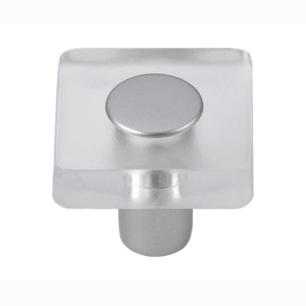 Decco 1-3/16 in. Clear/Matte Aluminum Square Cabinet Knob