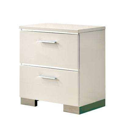 Tigua 2-Drawer Glossy White Nightstand