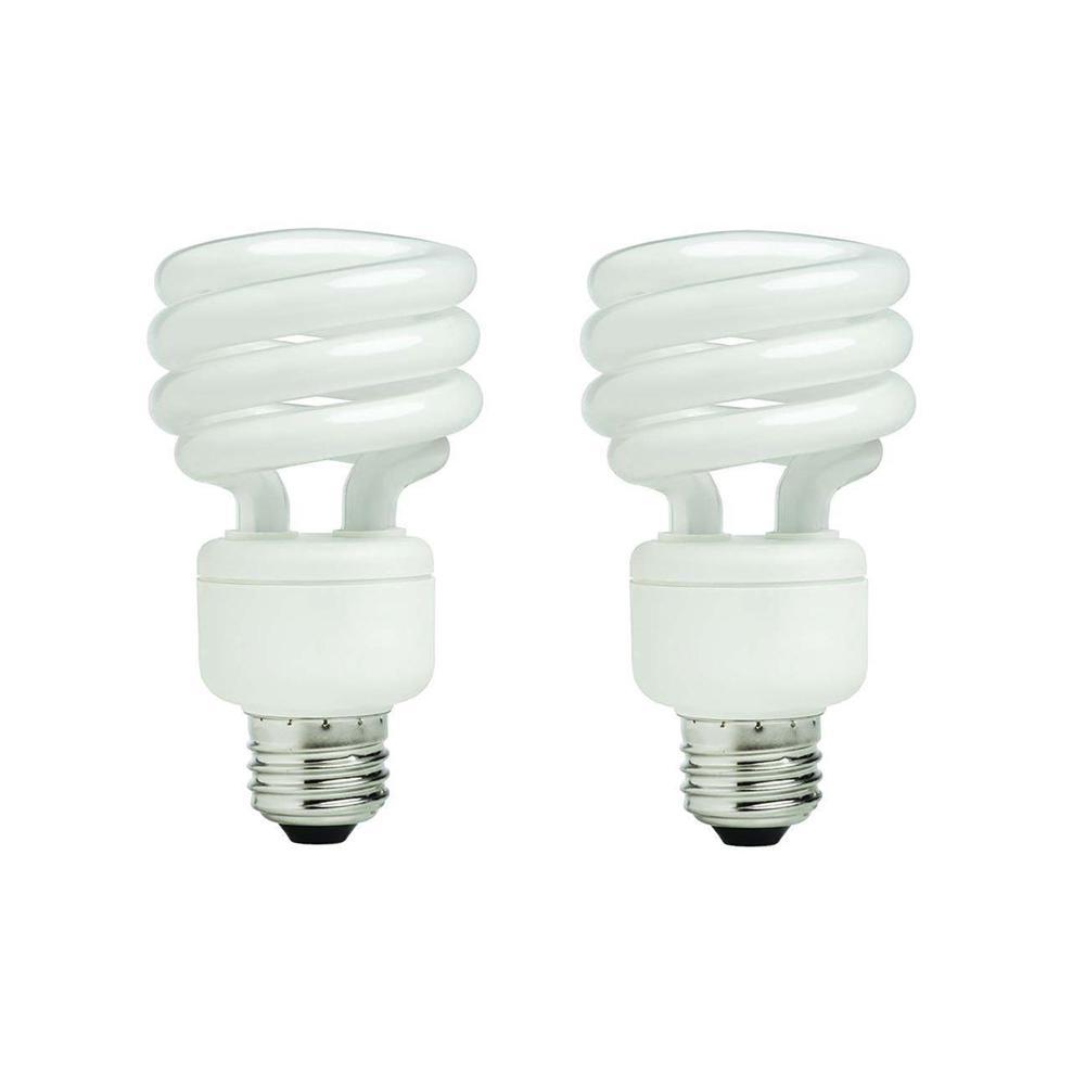 EcoSmart 75-Watt Equivalent Spiral Non-Dimmable CFL Light Bulb ...