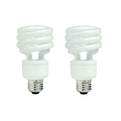 75-Watt Equivalent Spiral Non-Dimmable CFL Light Bulb Daylight (2-Pack)