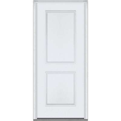 36 in. x 80 in. Severe Weather Right-Hand Outswing 2-Panel Primed Fiberglass Smooth Prehung Front Door